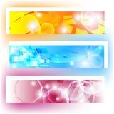 Kleurrijke banners met vormen en het glanzen Royalty-vrije Stock Foto