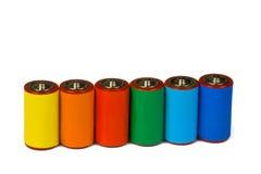 Kleurrijke batterijen - vernieuwbare energieconcept Stock Foto