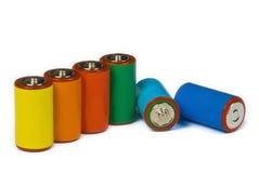 Kleurrijke batterijen - vernieuwbare energieconcept Royalty-vrije Stock Fotografie