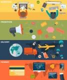 Kleurrijke bedrijfsfinanciënconcepten op vlak ontwerp Stock Afbeelding