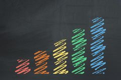 Kleurrijke bedrijfsgrafiek op bord royalty-vrije stock afbeeldingen