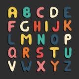 Kleurrijke beeldverhaal grappige doopvont Kinderen Engels alfabet Royalty-vrije Stock Foto's