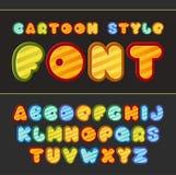 Kleurrijke beeldverhaaldoopvont Leuk vectoralfabet Royalty-vrije Stock Afbeelding