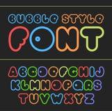 Kleurrijke beeldverhaaldoopvont Leuk vectoralfabet Stock Fotografie