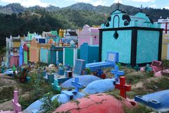 Kleurrijke Begraafplaats in Chichicastenango Guatemala royalty-vrije stock foto