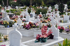 Kleurrijke begraafplaats op het strand Stock Afbeeldingen