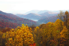 Kleurrijke berglandschappen met mist Royalty-vrije Stock Afbeeldingen