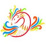 Kleurrijke bevallige tedere vogel met een fabelachtig bosje, stock illustratie