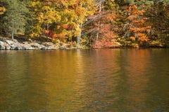 Kleurrijke bezinningen van dalingsgebladerte op reservoir het West- van Hartford stock afbeelding