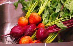 Kleurrijke bieten die worden gewassen stock fotografie