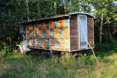 Kleurrijke bijenkorf op oude uitstekende vrachtwagen in lokale bos achtermening stock afbeeldingen