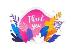 Kleurrijke bladeren op witte achtergrond Dank u kaarden, Vectorillustratie, moderne vlakke stijl vector illustratie