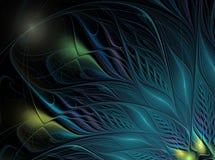 Kleurrijke blauwe veren met vlekken op een donkere achtergrond Royalty-vrije Stock Foto's