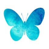 Kleurrijke blauwe waterverfvlinder Stock Afbeeldingen