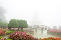 Kleurrijke bloem en houten brug in mooie tuin met regenmist Stock Fotografie
