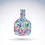 Kleurrijke bloem-gevormde fles, alcohol en ontspanningsconcept royalty-vrije illustratie