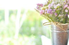 Kleurrijke bloem in Zinkemmer stock afbeelding