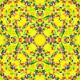 Kleurrijke bloembloemblaadjes op een gele achtergrond Stock Fotografie