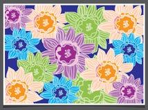 Kleurrijke bloemen in een kader Stock Afbeelding