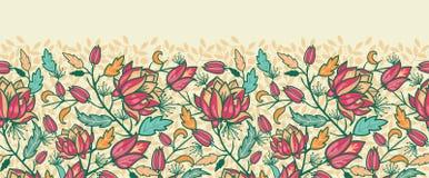 Kleurrijke bloemen en bladeren horizontale naadloos Stock Afbeelding