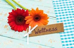 Kleurrijke bloemen en giftkaart voor wellness of kuuroordbehandeling, vakantie of weekend royalty-vrije stock fotografie