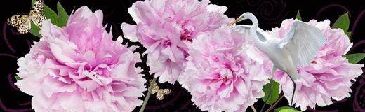 Kleurrijke bloemen en witte reigergrens Stock Afbeelding
