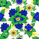 Kleurrijke bloemenachtergrond die op wit trekken Royalty-vrije Stock Afbeeldingen