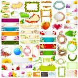 Kleurrijke bloemenbanner jumboinzameling Stock Afbeelding