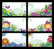 Kleurrijke bloemenkaarten Stock Foto's