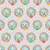 Kleurrijke bloemenkronen met achtergrond van het vogels de volks naadloze vectorpatroon stock illustratie