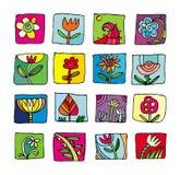 Kleurrijke bloemenpictogrammen Stock Foto