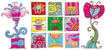 Kleurrijke bloemenpictogrammen Royalty-vrije Stock Afbeelding