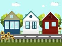 Kleurrijke blokhuizen buren Royalty-vrije Stock Foto's