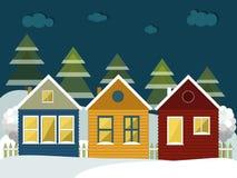 Kleurrijke Blokhuizen in de Bergen Vrolijke Kerstmis en Gelukkige Nieuwjaarskaarten vector illustratie