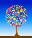 Kleurrijke boom met bloemen Stock Foto