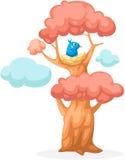 Kleurrijke boom met vogelnest Stock Afbeelding