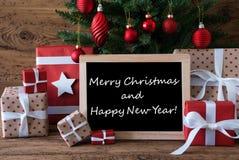 Kleurrijke Boom, Tekst Vrolijke Kerstmis en Gelukkig Nieuwjaar Stock Fotografie