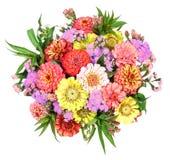 Kleurrijke bos van bloemen met dahlia en Zinnia Royalty-vrije Stock Afbeeldingen