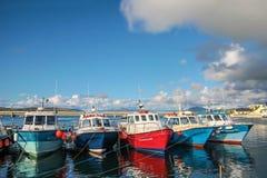 Kleurrijke boten in de haven van Portmagee Stock Fotografie