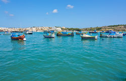 Kleurrijke boten Marsaxlokk Royalty-vrije Stock Afbeelding