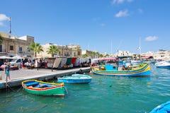 Kleurrijke boten Marsaxlokk Royalty-vrije Stock Foto