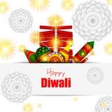 Kleurrijke brandcracker met verfraaide diya voor de Gelukkige Diwali-viering van de festivalvakantie van de groetachtergrond van  royalty-vrije illustratie