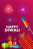 Kleurrijke brandcracker voor Gelukkige Diwali-vakantie van India Stock Foto