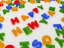 Kleurrijke brieven die op wit Gelukkig Nieuwjaar worden geïsoleerd= als achtergrond Stock Afbeeldingen