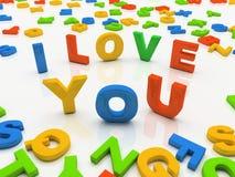Kleurrijke brieven die op witte achtergrond I liefde worden geïsoleerdd u Royalty-vrije Stock Fotografie