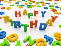 Kleurrijke brieven die op witte Gelukkige Verjaardag worden geïsoleerdp als achtergrond Stock Foto