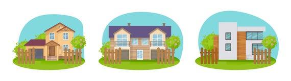 Kleurrijke buitenhuizen, vakantieherenhuizen, plattelandshuisjes, hotels en kosthuis royalty-vrije illustratie