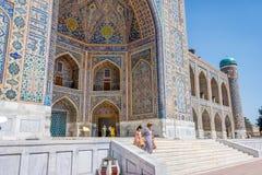 Kleurrijke buitenkant van tilya-kori madrasah, Samarkand Registan Royalty-vrije Stock Afbeeldingen