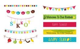 Kleurrijke bunting en slingers voor Joodse vakantie Sukkot Royalty-vrije Stock Foto