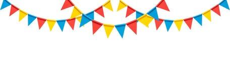Kleurrijke bunting partijvlaggen op witte achtergrond vector illustratie